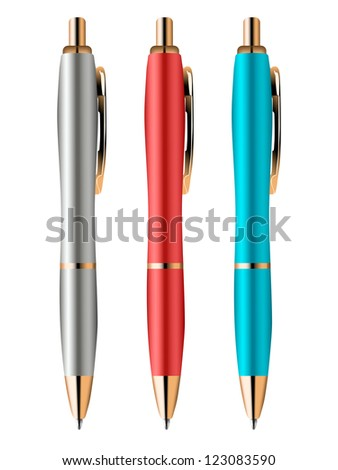 set of colored pens - stock vector