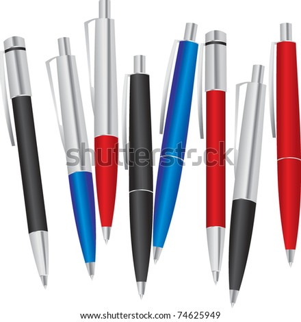 set of colored pens: blue, black and red - stock vector