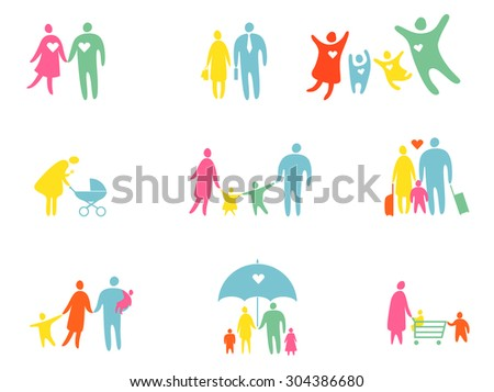 Set of colored people silhouettes
