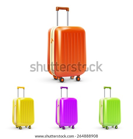 Set of colored plastic travel baggage suitcases isolated vector illustration - stock vector