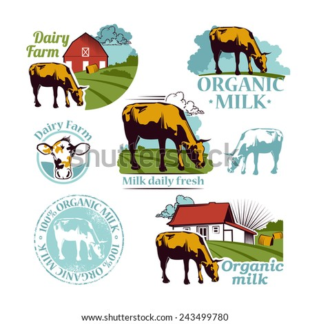 Set of colored Retro Farm vector icons depicting a cow a Fresh logo and banner with the text for your design - stock vector