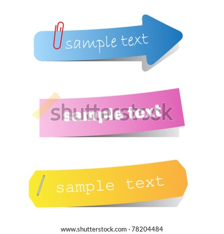 Set of colored ribbons on paper - stock vector