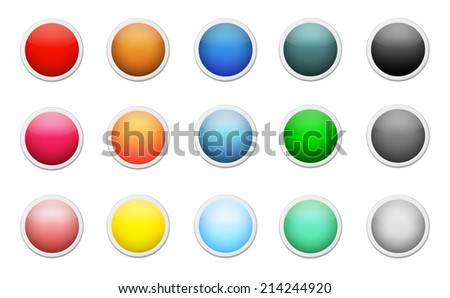 Set of colored round buttons - stock vector