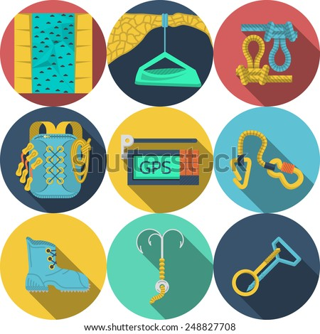 Set of colored round flat vector icons for outfit and equipment for rappelling, rock climbing on white background. Long shadow design - stock vector