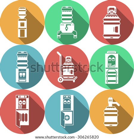 Set of colored round flat vector icons with white line water cooler and supplies. Water delivery service. Design elements for business and website. - stock vector