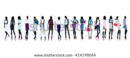 Set of colored silhouettes of high fashion clothed women - stock vector