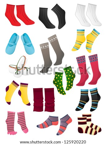 Set of colored socks on a white background - stock vector