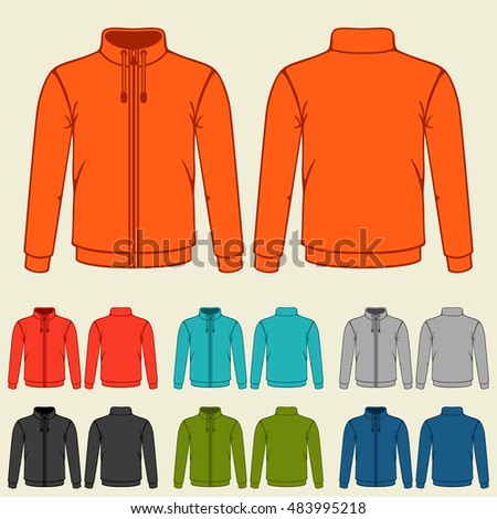 Set of colored sports jackets templates for men.