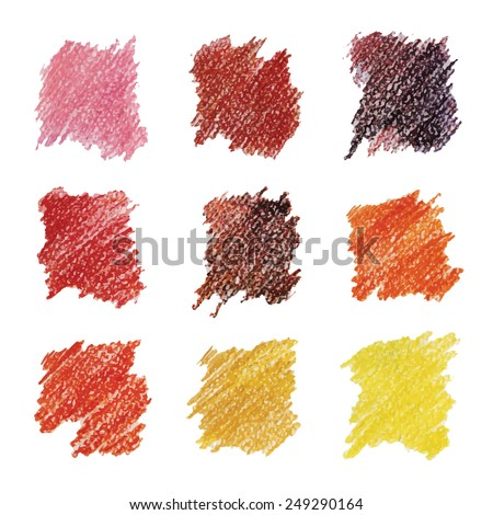 Set of colored spots in warm tones. Drawn with colored pencils. - stock vector