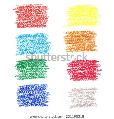 Set of colored spots of wax crayons, isolated on white background