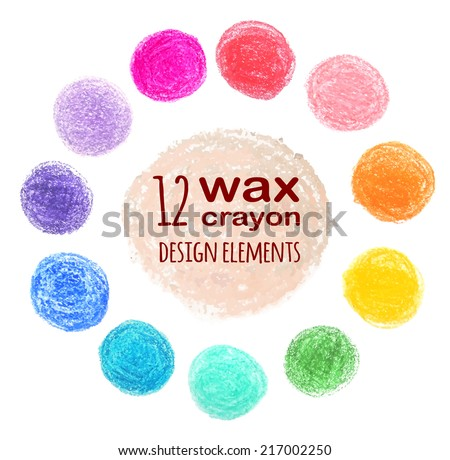 set of colored spots wax crayon, isolated on white background - stock vector
