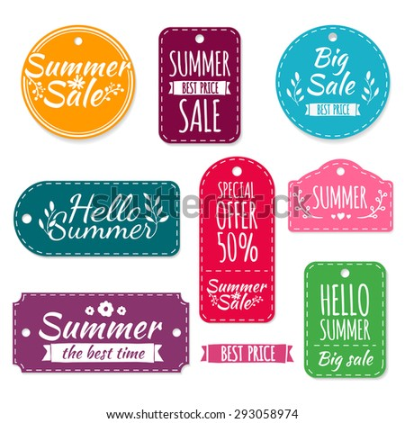 Set of colored summer stickers, labels, labels, coupons. Spring discounts, promotions, offers. Vector. Place for your text. - stock vector