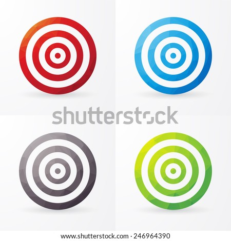 set of colored targets isolated on a white background - stock vector