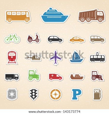 Set of colored transport icons, vector eps10 illustration - stock vector
