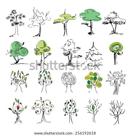 set of 20 colored trees on a white background , sketch . Drawing hands. background, vector - stock vector