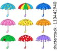 Set of colored umbrellas - stock photo