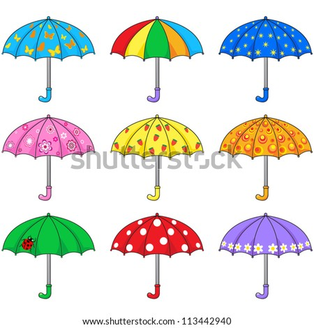 Set of colored umbrellas - stock vector