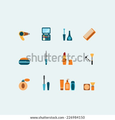 Set of colored vector hairstyling and makeup flat icons showing mascara  comb  hairdryer  perfume  lipstick  nail varnish  containers  brushes  compact  eye-shadow and blusher - stock vector