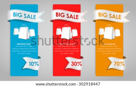 Set of colored vertical banners for sale with a ribbon. Elements of infographics for posting information. Vector illustration