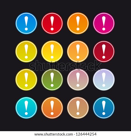 Set of colored 16 warning signs on a black background - stock vector
