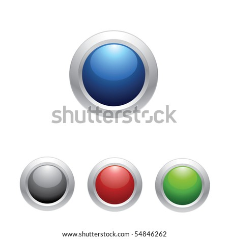 Set of colored web buttons isolated on white. Vector illustration for your design. - stock vector