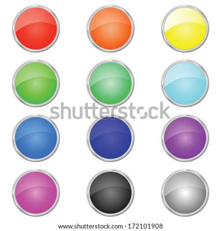 Set of colored web buttons. Red, orange, yellow, green, blue, purple, black, gray.