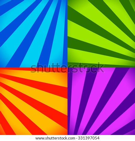 Set of colorful abstract backgrounds in vivid colors with converging lines to corners Vector.