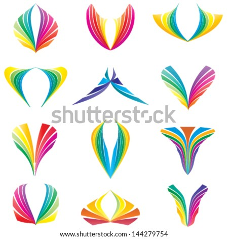 set of colorful abstract icons, nature concept logo set - stock vector