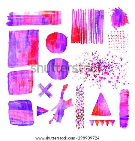 Set of colorful  acrylic design elements. Abstract vector illustration. White background with watercolor stains. Editable template. Isolated. Geometric shape. Triangle, square, circle, cross. - stock vector