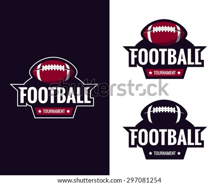 Set of colorful american football logo labels. Vector illustration. - stock vector