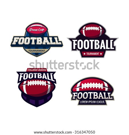 Set of Colorful american football tournament challenge logo labels on shield. Vector isolated sport logo design illustration - stock vector