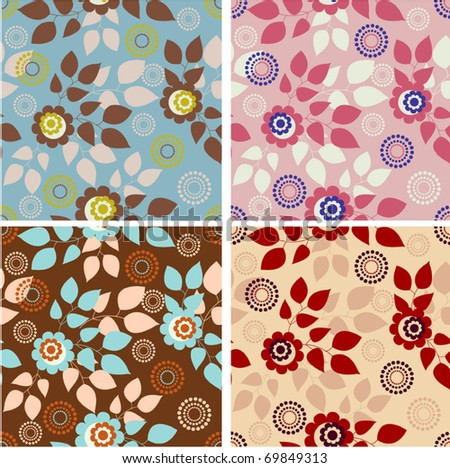 Set of colorful and elegant vector seamless floral patterns - stock vector