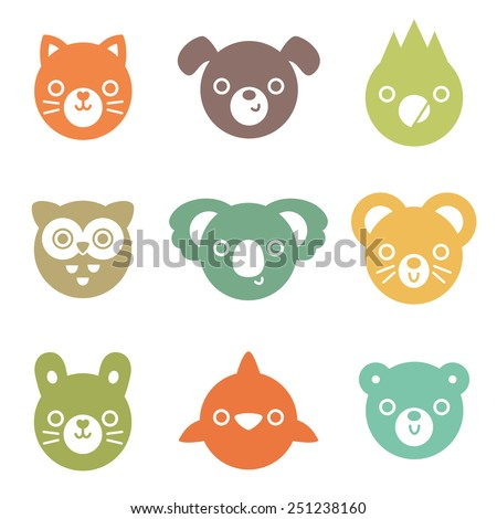 Set of colorful animal and bird face silhouettes isolated on white for stickers, cards, labels and tags. Minimal style, includes cat, dog, mouse, rabbit, owl, dolphin, koala, parrot, bear. - stock vector