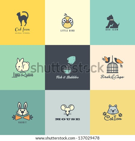 Set of colorful animal icons - stock vector