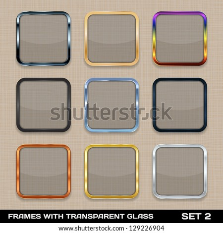 Set Of Colorful App Icon Frames, Templates, Buttons. Set 2. Vector - stock vector