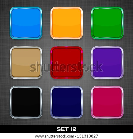 Set Of Colorful App Icon Templates, Buttons, Backgrounds. Set 12. Vector