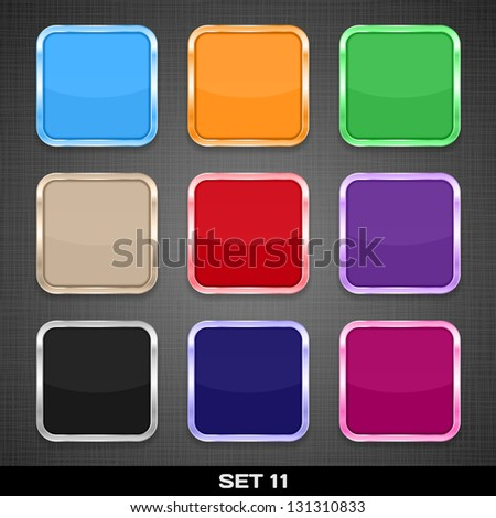 Set Of Colorful App Icon Templates, Buttons, Backgrounds. Set 11. Vector