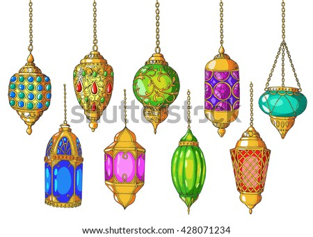 Set of colorful arabic lanterns. Ramadan Kareem. Islamic colorful holiday vector background. Hand drawn elements for Islamic holiday Ramadan Kareem. Sketch. Isolated.