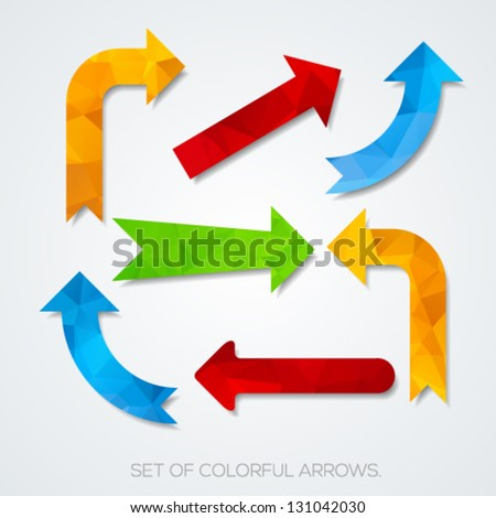 Set of colorful arrows. Vector illustration. - stock vector