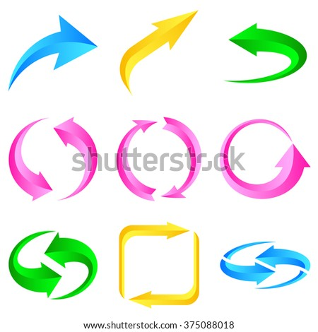Set of colorful arrows. Vector illustration for design on white background. - stock vector