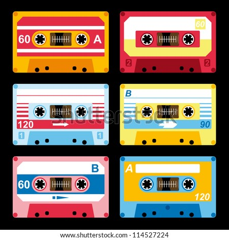 set of colorful audio cassettes vector - stock vector