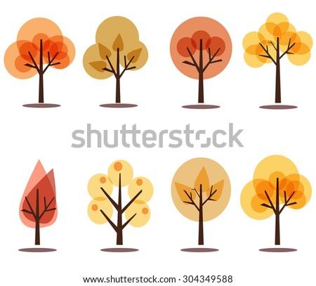 Set of colorful autumn tree collection. Illustration in cartoon style. Seasonal color trees. Illustration autumn trees isolated on white background. Vector illustration.