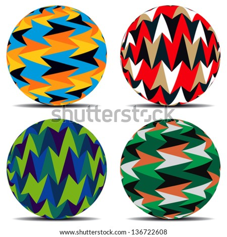 Set of colorful background on balls - stock vector