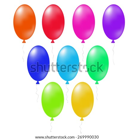 Set of Colorful Balloons Isolated on White Background.