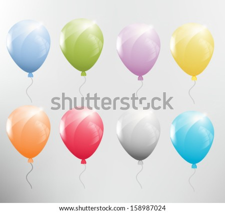 Set of colorful balloons. Vector eps10. - stock vector