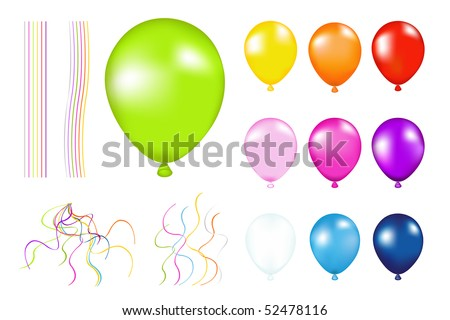 Set of Colorful Balloons with detailes. Isolated on white - stock vector