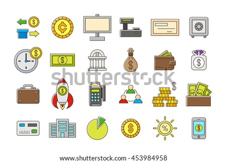 Set of 24 Colorful banking vector icons