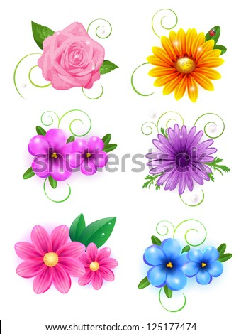 Set of colorful banners with flowers. Easy to edit. Perfect for invitations or announcements. - stock vector