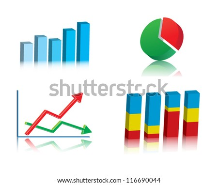 Set of colorful basic business graphs, charts. Vector illustration