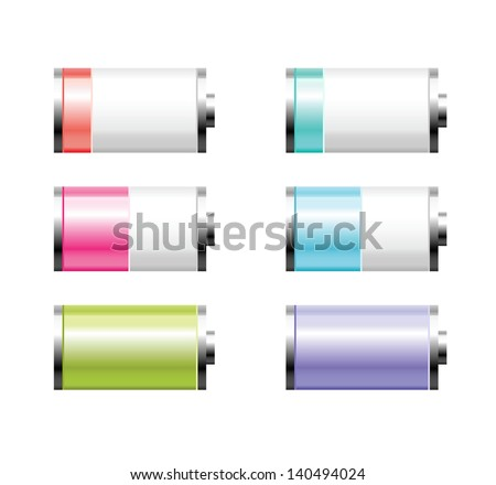 Set of colorful battery charge on white background
